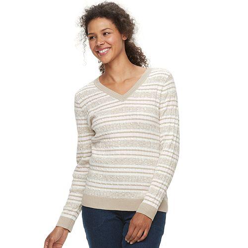 df28f9c16a28ec Women s Croft   Barrow® Classic Cable Knit V-Neck Sweater
