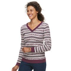 Women's Croft & Barrow® Classic Cable Knit V-Neck Sweater