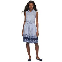 Women's Sharagano Embroidered Sleeveless Shirt Dress