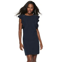 Women's Sharagano Grommet Ruffle Sleeve Dress