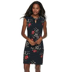 Women's Sharagano Front Keyhole Floral Dress