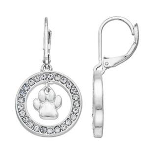 Pet Friends Simulated Crystal Paw Print Hoop Drop Earrings