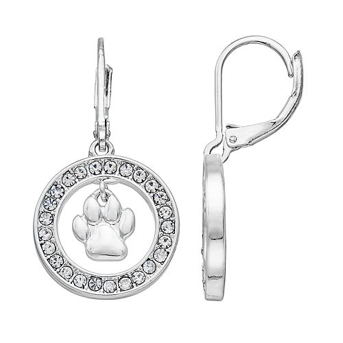 Pet Friends Simulated Crystal Paw Print Hoop Drop Earrings