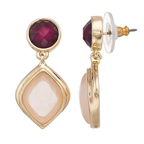 Dana Buchman Red & Pink Double Drop Earrings