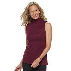 Women's Croft & Barrow® Mockneck Sleeveless Top