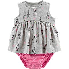 Baby Girl Carter's Flamingo Polka-Dot Sunsuit