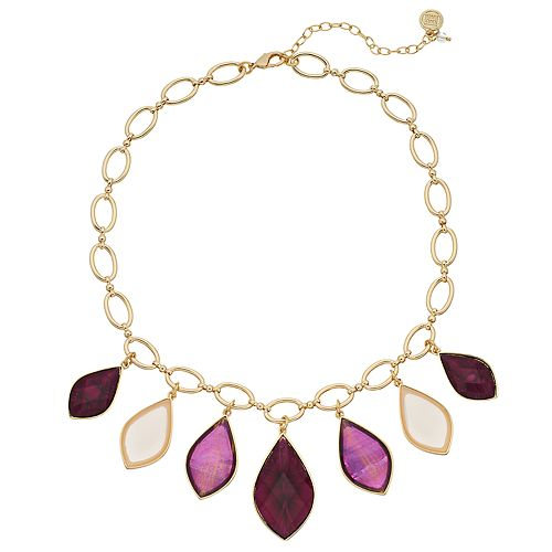 Dana Buchman Graduated Marquise Faceted Stone Necklace