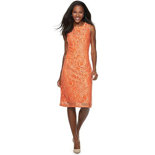 Women's Sharagano Two-Tone Lace Midi Dress