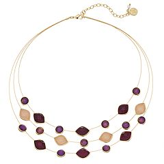 Dana Buchman Faceted Stone Multi Strand Illusion Necklace