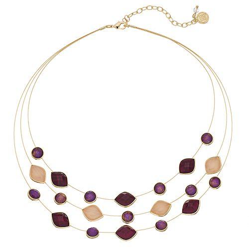 Dana Buchman Faceted Stone Multi Strand Illusion Necklace