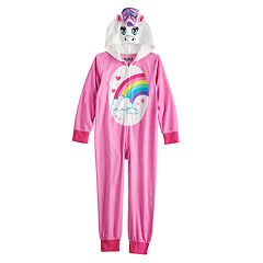 Girls 6-12 Unicorn Hooded Fleece Union Suit Pajamas