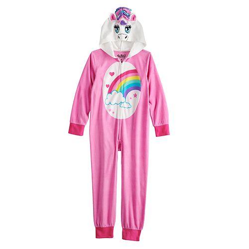 Girls 6-12 Unicorn Hooded Fleece Union Suit Pajamas