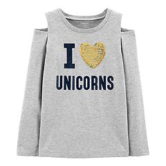 Girls 4-14 Carter's 'I Love Unicorns' Sequined Graphic Top