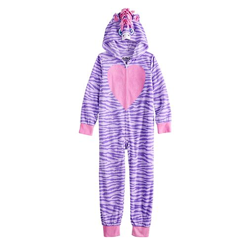Girls 6-12 Zebra Hooded Fleece Union Suit Pajamas