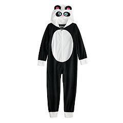 Girls 6-12 Panda Bear Hooded Fleece Union Suit Pajamas
