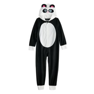 Girls 6-12 Panda Bear Hooded Fleece Union Suit Pajamas