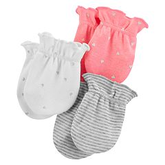 Baby Girl Carter's 3-pack Heart & Striped Mitts