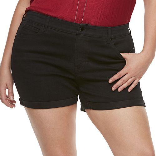 Plus Size Jennifer Lopez MidRise Cuffed Twill Shorts