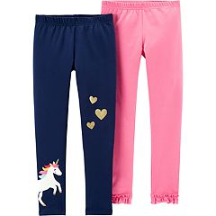Girls 4-14 Carter's 2-pack Glittery Unicorn & Ruffled-Hem Leggings