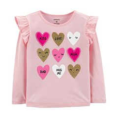 Toddler Girl Carter's Glittery Heart Ruffled Tee
