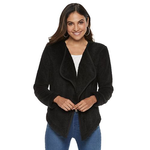 Women's Juicy Couture Open-Front Sherpa Cozy Cardigan