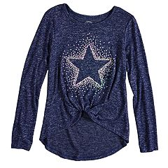 Girls 7-16 & Plus Size SO® Cozy Front Knot Long Sleeve Graphic Tee