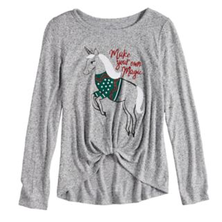 Girls 7-16 & Plus Size SO® Cozy Front Knot Long Sleeve Holiday Graphic Tee