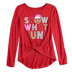 girls 7 16 plus size so cozy front knot long sleeve holiday graphic