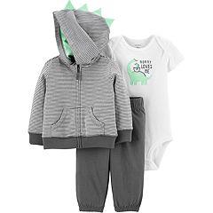 Baby Boy Carter's Dinosaur Hoodie, Bodysuit & Pants Set