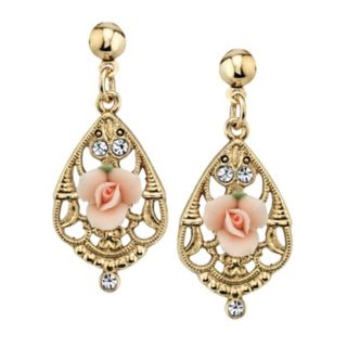 1928 Pink Porcelain Rose & Simulated Crystal Drop Earrings