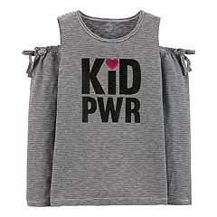 Girls 4-14 Carter's Striped 'Kid PWR' Cold-Shoulder Tee