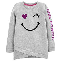 Girls 4-14 Carter's 'Girl Power' Smiley Fleece Sweatshirt