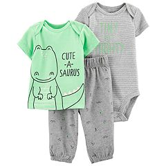 Baby Boy Carter's 'Tiny but Mighty' Bodysuit, 'Cute-a-Saurus' Tee & Dino Pants Set