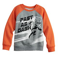 Disney / Pixar The Incredibles Boys 4-12 'Fast As Dash' Raglan Softest Fleece Pullover Sweatshirt by Jumping Beans®