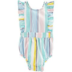 Baby Girl Carter's Striped & Ruffled Bodysuit