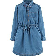 Girls 4-12 Carter's 'Love' Henley Denim Dress
