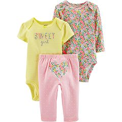 Baby Girl Carter's 'Sweet Girl' Bodysuit, Floral Bodysuit & Polka-Dot Pants Set