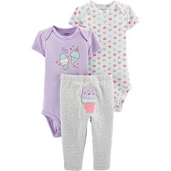 Baby Girl Carter's Ice Cream & Heart Bodysuits & Striped Pants Set
