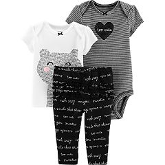 Baby Girl Carter's Bear Graphic Tee, Striped Bodysuit & Ruffled Pants Set