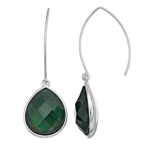 Dana Buchman Green Teardrop Threader Earrings