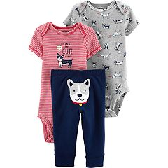 Baby Boy Carter's Striped Bodysuit, Print Bodysuit & Dog Pants Set