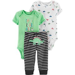 Baby Boy Carter's Graphic Bodysuit, Print Bodysuit & Dino Striped Pants Set