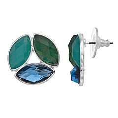 Dana Buchman Blue & Green Button Stud Earrings