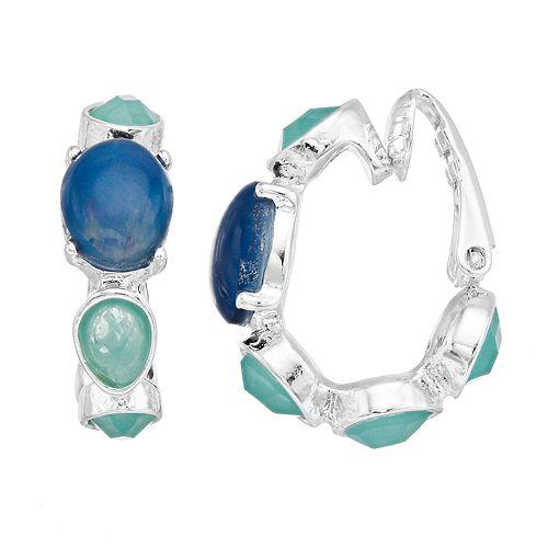 Dana Buchman Blue & Green Hoop Clip On Earrings