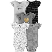 Baby Girl Carter's 5-pack Flutter-Sleeve Printed Bodysuits