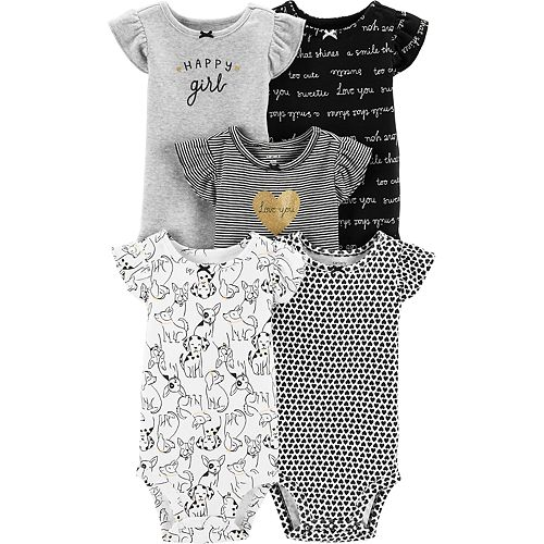 443ae33e7 Baby Girl Carter's 5-pack Flutter-Sleeve Printed Bodysuits