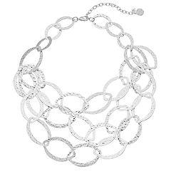 Dana Buchman Silver Tone Multi Strand Hoop Necklace