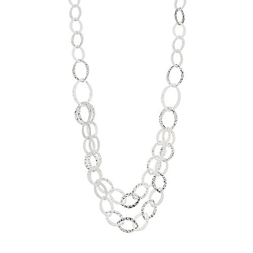 Dana Buchman Silver Tone Multi Strand Loop Link Necklace
