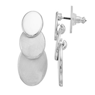Dana Buchman Silver Tone Triple Disc Drop Earrings