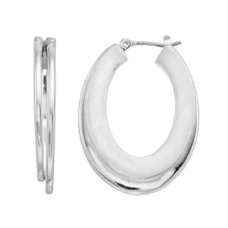 Dana Buchman Silver Tone Oval Hoop Earrings